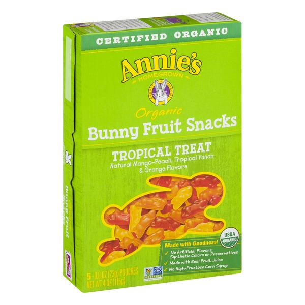 Annie's Organic Tropical Treat Bunny Fruit Snacks 5-0.8 oz Pouches