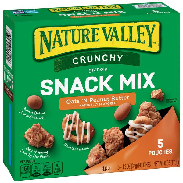 Nature Valley Crunchy Oats 'N Peanut Butter Snack Mix 5 - 1.2 oz Pouches