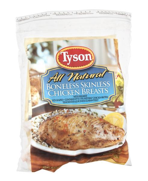 Tyson 100% Natural Boneless Skinless Chicken Breasts with Rib Meat