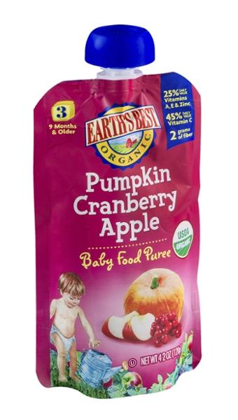 Earths Best Organic 3rd Pumpkin Cranberry Apple Baby Food Puree