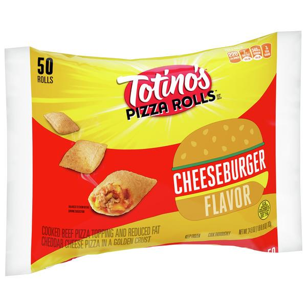 Totino's Pizza Rolls, Cheeseburger, 50 Rolls, 24.8 oz Bag