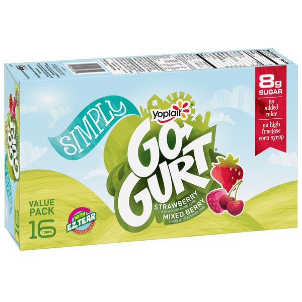 Yoplait Simply Go-Gurt Strawberry/Mixed Berry Portable Low Fat Yogurt Variety Pack 16Ct