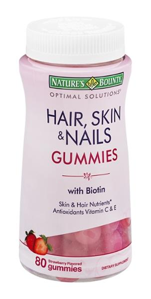 Nature\'s Bounty Optimal Solutions Hair, Skin & Nails Gummies with ...