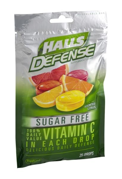 Halls Defense Sugar Free Assorted Citrus Vitamin C