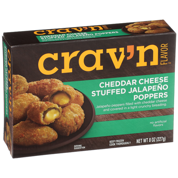 Crav'N Flavor Cheddar Cheese Stuffed Jalapeno Poppers