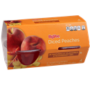 Hy-Vee Diced Peaches In Strawberry Gel, 4-4.3 oz Bowls
