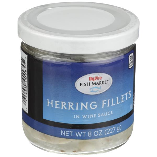 Hy-Vee Fish Market Herring Fillets in Wine Sauce 8 oz. Jar