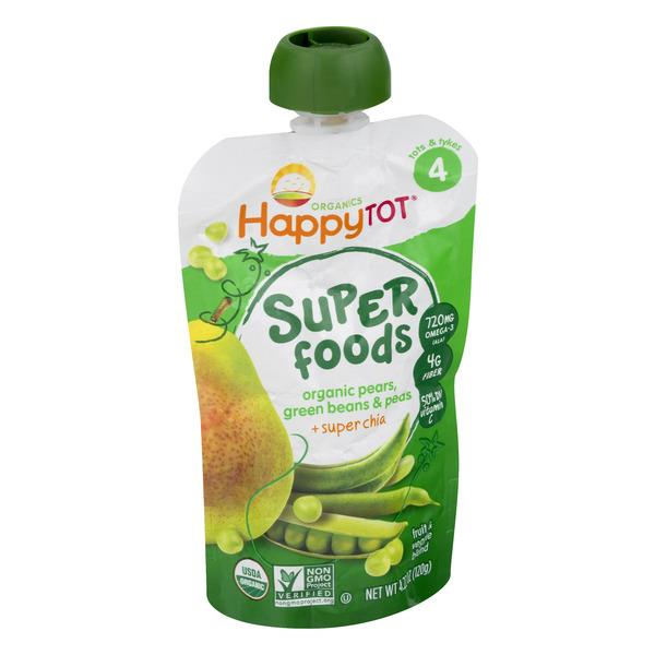 Happy Tot Super Foods Organic Pears, Peas & Green Beans + Super Chia Baby Food